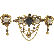 Florenza Victorian Revival Black Rhinestone and Pearl Brooch and Earring Set