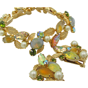 Kramer of New York Art Glass and Pearl Gold Plated Leaf Bracelet and Earring Set