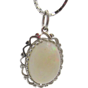 10k White Gold Opal Pendant Silver Chain Necklace