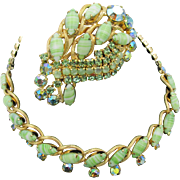 Vintage Mint Green Rhinestone Necklace and Brooch