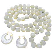 European Mother of Pearl Knotted Bead Necklace and 14k Hoop Earring Set