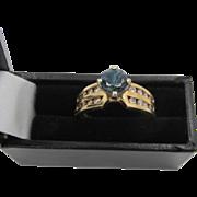 Estate Harold Freeman 14k Gold Blue Sapphire and Channel Set Diamond Ring