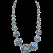 "Vintage 20"" Venetian Blue Wedding Cake Graduated Bead Necklace"