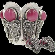 Napier Gauntlet Moonglow Cuff Bracelet and Earrings: Eugene Bertolli Book Piece