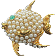 Signed Ciner Smiling Fish Figural Brooch