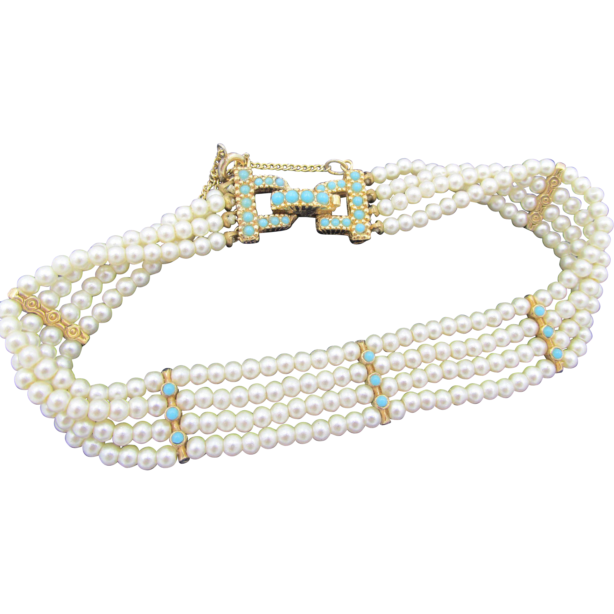 Ciner Four Row Faux Pearl And Turquoise Bracelet