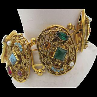 Vintage Etruscan Style Bookchain Cabochon Bracelet