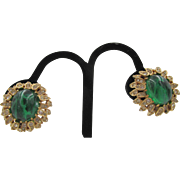Ciner Emerald Green Glass Cabochon and Diamante 'Jewels of India' Earrings