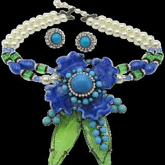 Lawrence Vrba Art Glass Brooch/Necklace and Earrings