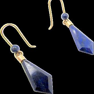 14k Lapis Lazuli Pierced Drop Earrings