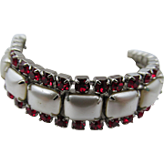 Weiss Faux Pearl and Red Rhinestone Rhodium Plated Bracelet
