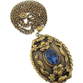 Art Deco Ornate Brass Pendant Faceted Blue Rhinestone Necklace