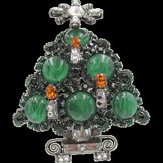 Lawrence Vrba Christmas Tree Emerald Rhinestone Brooch