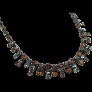 Signed Shreiner Topaz and Denim Blue Rhinestone Stunning Necklace
