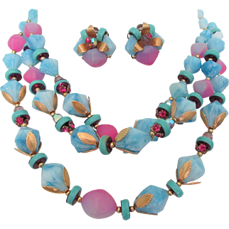 Deauville Triple Strand Blue and Frosted Pink Bead Necklaace and Earrings