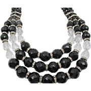 SPHINX England Art Deco Style Black Faceted and Crystal Rondelle Necklace