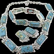 Mid Century  Coro Confetti Turquoise Lucite Parure
