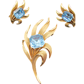 Crown Trifari Blue Square Rhinestone Brooch and Earrings