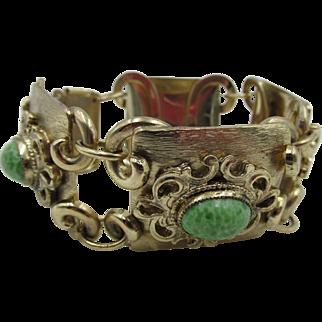Vintage Brushed Gold Plated Filigree Mottled Green Cabochon Linked Bracelet