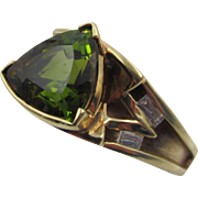 Estate 14k YG Trillion Green Tourmaline with Accent Diamond Ring