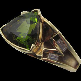 Estate 14k YG Trillion Green Tourmaline with Accent Diamond Ring