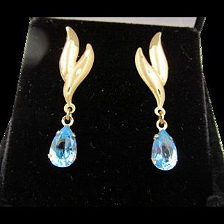14k Brushed Yellow Gold Pierced Blue Topaz Drop Pierced Earrings
