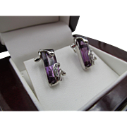 European 14k White Gold Amethyst with White Sapphire Accent Pierced Earrings