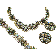 Florenza Green Rhinestone and Pearl Gold Plated Parure