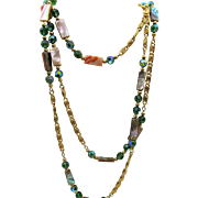 Napier 60 inch Abalone and Green Rhinestone Chain Necklace