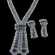 Vintage Blue Rhinestone Adjustable Lariat Necklace and Drop Earring Rhodium Plated Set