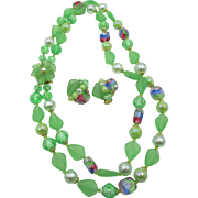 Western Germany Green Art Glass Double Strand Necklace and Earrings