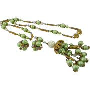 1940s Long Brass and Mint Green Bead Sautoir Dangling Necklace & Earring Set