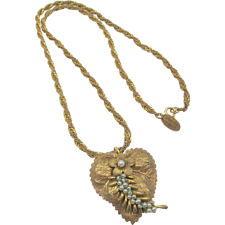 Miriam Haskell Heart Russian Gold Plated Pendant Necklace