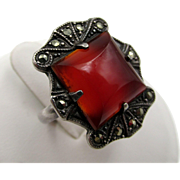 Art Deco Marcasite and Carnelian Sterling Ring