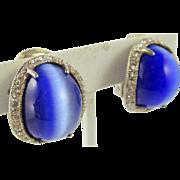 Sterling 925 Blue Cat's Eye Rhinestone Clip Earrings