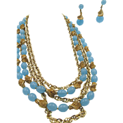 Crown Trifari Multi Strand Blue Glass Beaded Necklace and Dangling Earrings