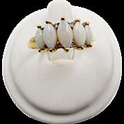 14k  Five Stone Marquise Opal Diamond Band Ring