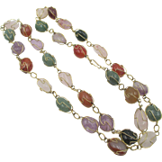Caged Polished Semi-Precious Stone Necklace
