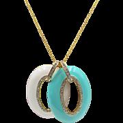 Nolan Miller Double Enamel and Rhinestone Pendant Necklace