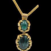 "Book Piece DeLizza and Elster Juliana ""Venus Flames"" Faux Emerald Pendant Necklace"