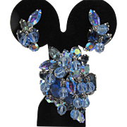 Kramer Blue Rhinestone Dangle Brooch and Earring Set