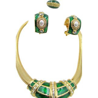Christian Dior Green Enamel and Rhinestone Necklace, Ring and Earring Set