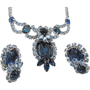 Sparkling Sapphire Blue Rhinestone Rhodium Plated Necklace and Earring Set