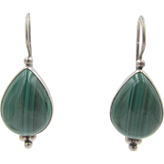 Sterling Silver Malachite Drop Pierced Wire Earrings