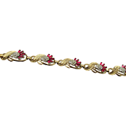 Rare Red Alfred Philippe Trifari Thistle Rhinestone Bracelet