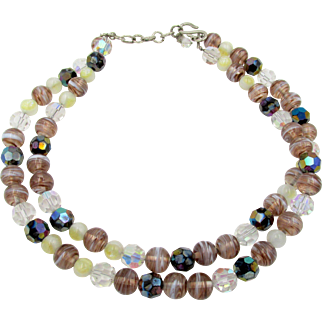 1959 Christian Dior Germany Art Glass Double Strand Necklace