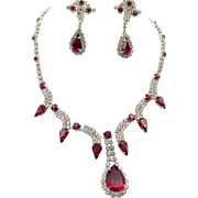 Kramer Red and Crystal Rhinestone Necklace and Drop Earrings