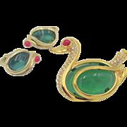 Trifari Flawed Emerald, Ruby Glass Cabochon Rhinestone Swan Brooch and Earrings