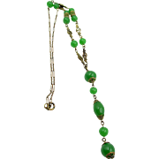 1920s Art Deco Green Glass Beaded Flapper Necklace