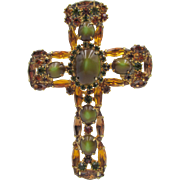Exquisite Vintage Green Gold Rhinestone Cross 3.5 in. Brooch Pendant